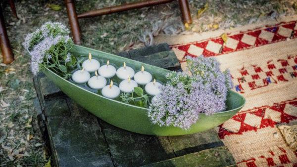 Decoración con velas del catering para eventos privados